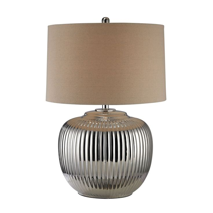 Trump Home Oversized Ribbed Ceramic Table Lamp in Silver D2640