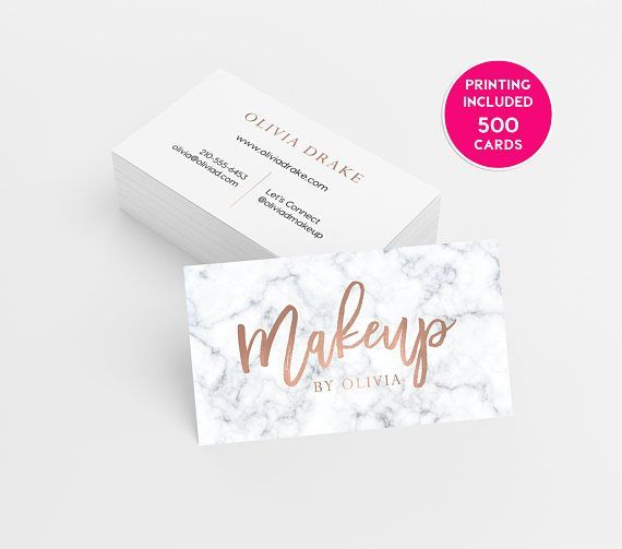 Marble Rose Gold Makeup Business Cards 500 Business Cards Etsy Printing Business Cards Makeup Business Cards Business Card Design