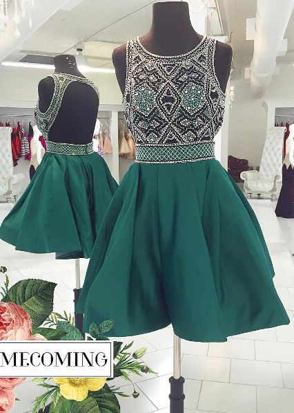99b22a84b76 Stylish Backless Jewel Sleeveless Green Short Homecoming Dress with Beading