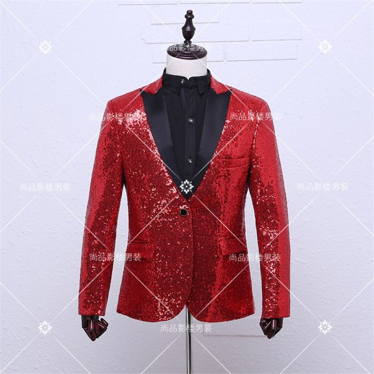 Fashion red blazer men casual stage jacket dj dancing men sequin blazer costume homme blazer homme mens red sequin blazer men