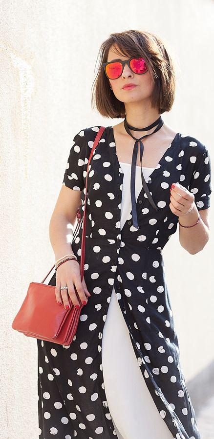 polka dots | shirt dress | celine trio bag | red mirrored sunglasses by Komono | summer outfits | choker necklace | galant girl | ellena galant | street style | fashion blogger