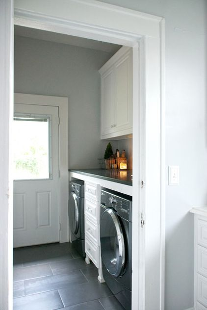 transitional laundry room by Hilary Walker