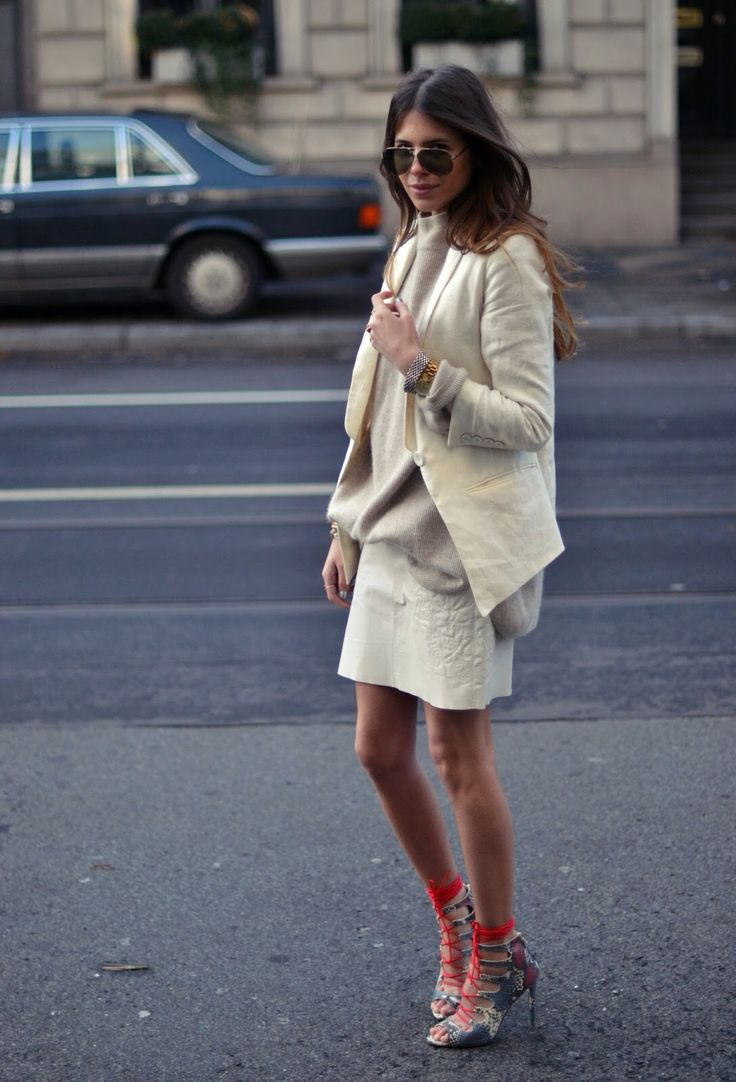 ivory blazer + oversized sweater + miniskirt + lace-up heels