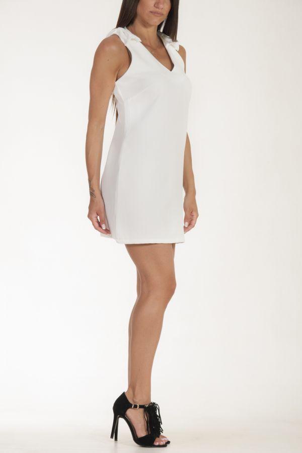 Φόρεμα κοντό με φιόγκους στους ώμους λευκό γυναικείο glamorous