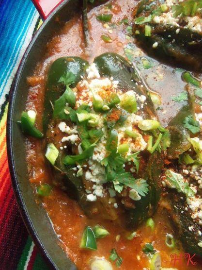 Chiles Rellenos en Salsa (Skillet Stuffed Poblanos in Tomato Salsa) HispanicKitchen.com