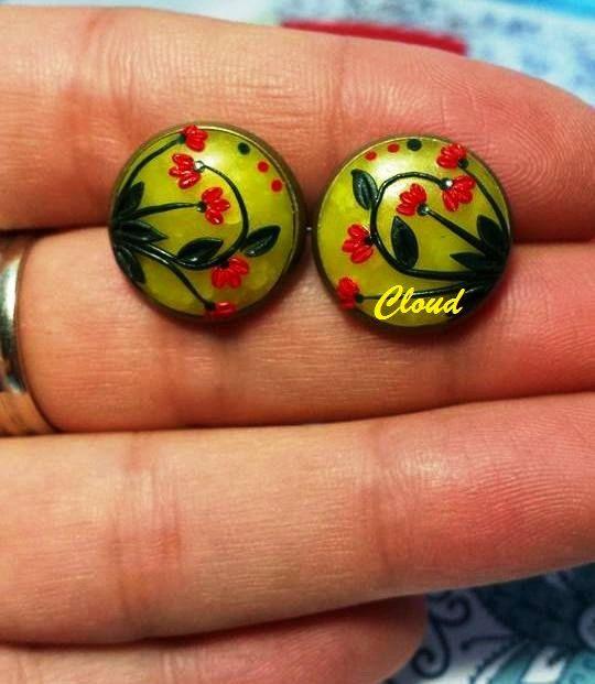 Orecchini bottoncino bronzo in pasta di ClaudiaNicolazzo su Etsy