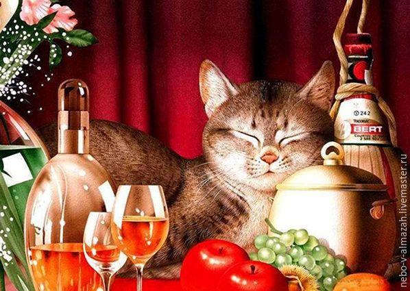 Купить Алмазная вышивка «Счастливый кот», 38 х 27 см - алмазная вышивка, алмазная мозаика