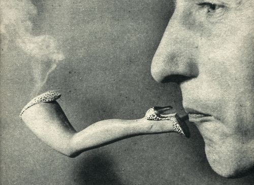 "Portrait Of Marcel Duchamp & Ann Miller's leg, in leopard-skin shorts and shoes, makes a soothing smoke. published in ""Vue"", November 1954."
