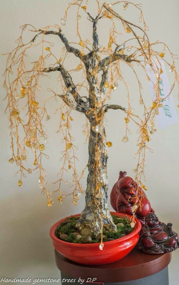 Birch tree with citrine gemstone