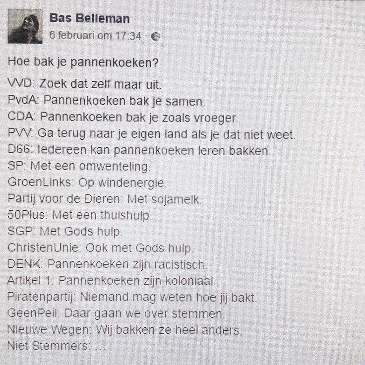 Dank aan poëet Bas Belleman voor deze fantastische stemwijzer. Hoe bak jij je pannenkoeken? #pannenkoeken #stemwijzer #basbelleman #15maart #stemmen