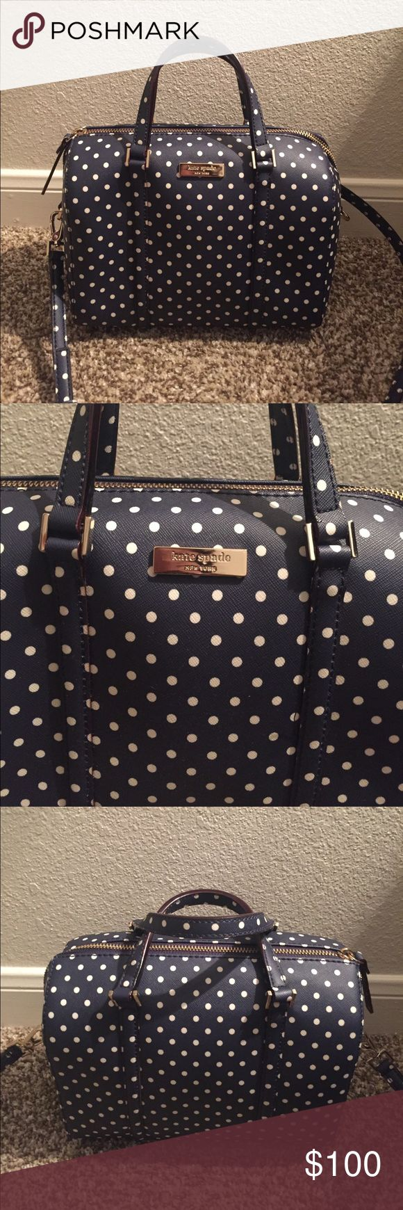 Kate Spade Polka Dot Purse Navy blue with white polka dots. Excellent condition! kate spade Bags Shoulder Bags