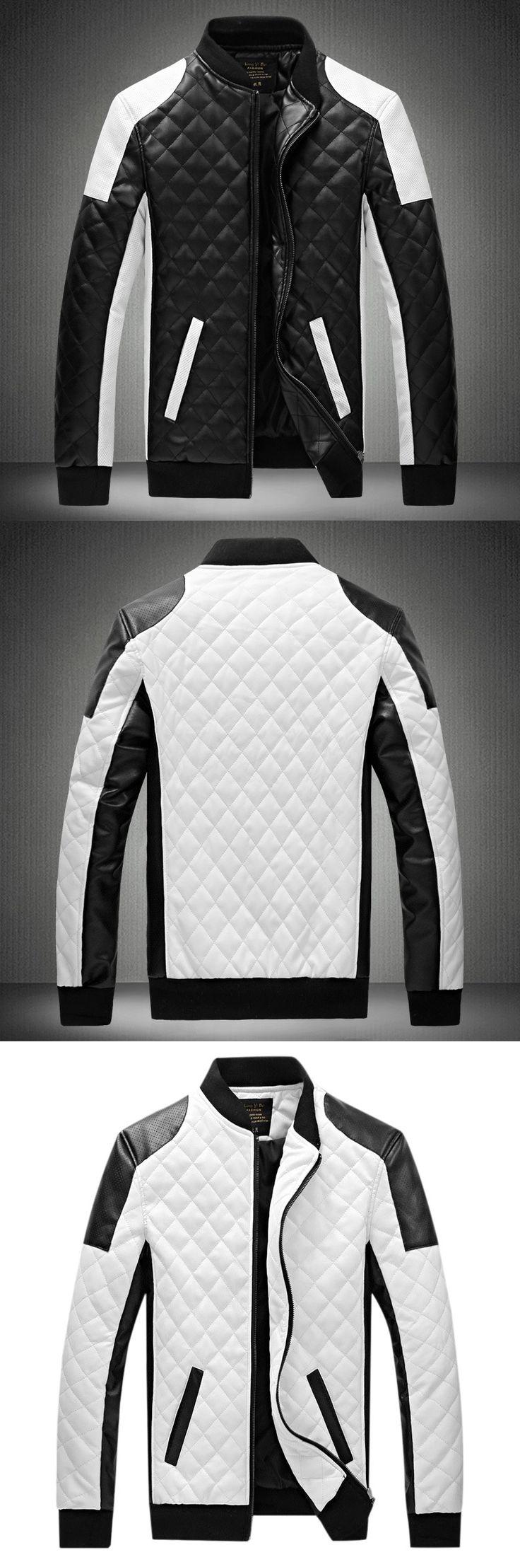 6XL 2017 New Brand Leather Jacket Mens Plus Size Winbreak Patchwork Black&White Pu Jacket Thin&Thick Warm Motorcycle Coats XA049