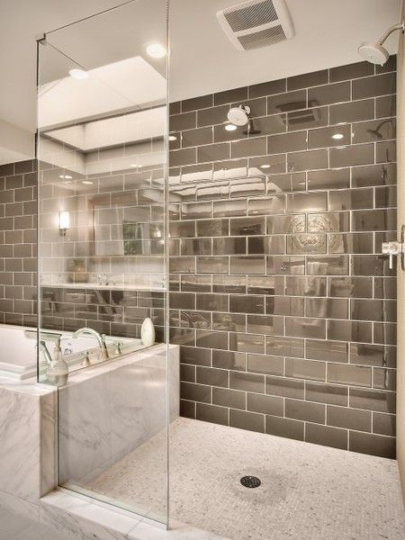 grey glass tile against the white marble