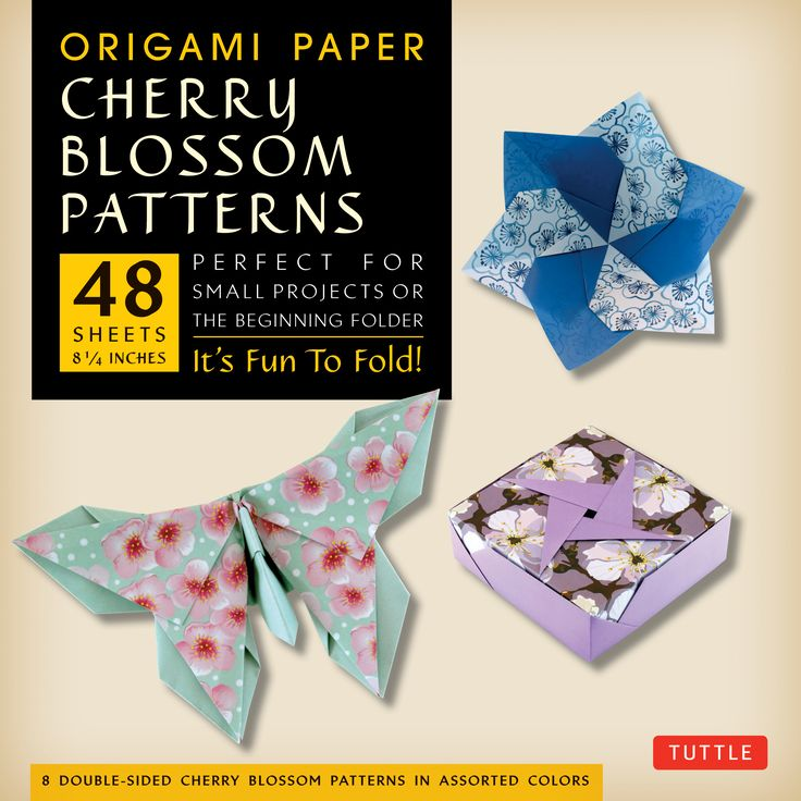Each pack contains 48 high-quality origami sheets printed with traditional-looking paper patterns that were specially developed to beautify the creative work of origami artists and paper crafters.  Choose from eight custom designed cherry blossom patterns. All of the papers are printed in coordinating colors on the reverse to increase the aesthetically pleasing combinations in origami models that show both the front and back of the origami paper.