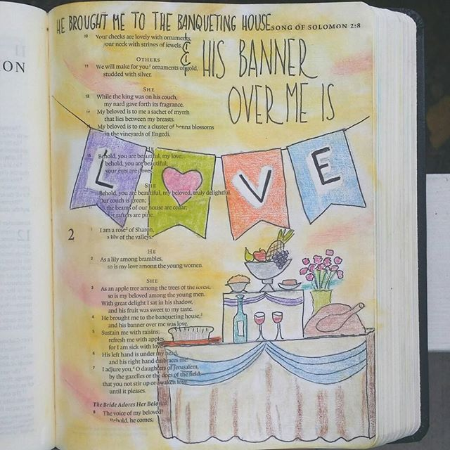 Song of Solomon 2 - His banner over me is love. The theme arching through all of God's word in His interaction with his bride is always LOVE. To be able to receive that love is everything. #biblejournaling #biblejournalingcommunity #bibleart #worshipart #worshipjournaling #createdtocreate #craftedword #illustratedfaith #idrawinmybible