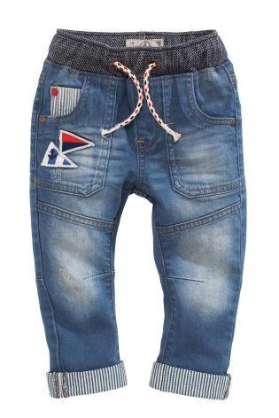 Acheter Jean bleu moyen à enfiler avec écussons (3 mois - 6 ans) disponible en ligne dès aujourd'hui sur Next : France