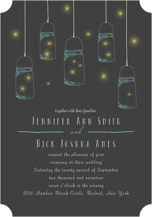 The Mason Jars And Fireflies wedding announcement is perfect for your outdoor rustic wedding theme.</p>