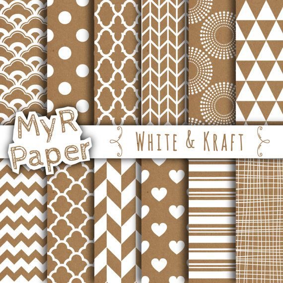 """With #love by @myrpaper in @etsy #pattern #design #graphic #paperdesign #papercraft #scrapbooking #digitalpaper Kraft digital paper: """"White & Kraft"""" with #kraft scrapbook paper,Instant Download, with Chevron, Triangles, Stripes, Polka Dots and more...  HELLO AND WELCOME TO MY SHOP  Th..."""