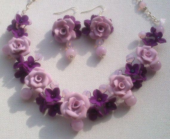 Purple jewelry  Purple necklace  Purple earrings  Floral by insou, $57.00