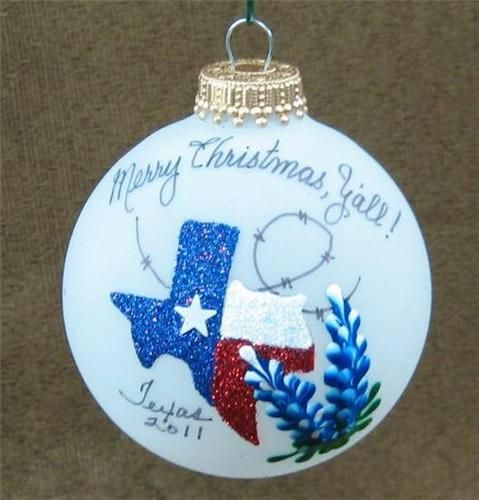 Hand painted and decorated State of Texas w Bluebonnets Glass Christmas Ornament - Treasure Journeys