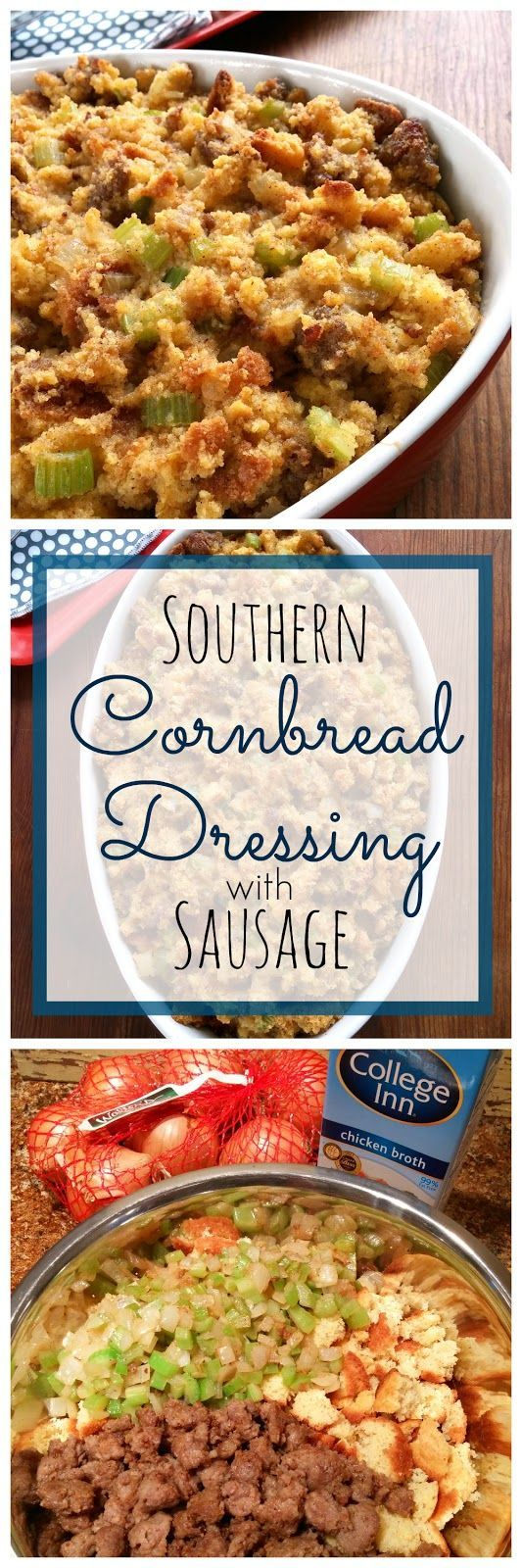 Southern Cornbread Dressing with Sausage! This is a super easy recipe made extra special with sausage crumbles (optional) and College Inn broth. #POURLOVEINN