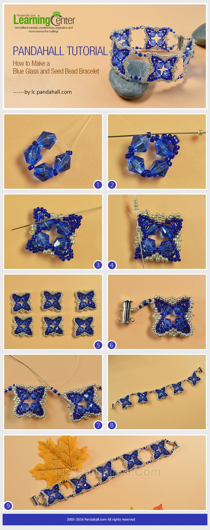 Pandahall Tutorial on How to Make a Blue Glass and Seed Bead Bracelet from LC.Pandahall.com