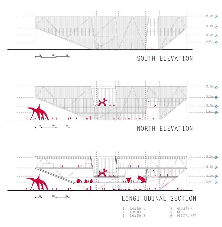 Image 16 of 24 from gallery of [BUENOS AIRES] New Contemporary Art Museum Competition Results. 1st place / longitudinal sections and elevations / Courtesy of Shelby Ponce & Eduardo Ponce