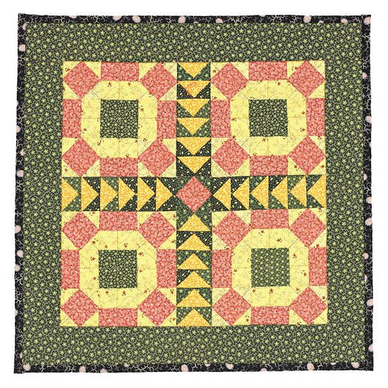 RoLLiNG SToNeS QUiLT ____This MiNiaTuRe QUiLT showcases antique 1880s fabrics in traditional yellows, pinks, & greens. Wheel patterns pump up the style in this project. (Get instructions for the rolling stones quilting project)