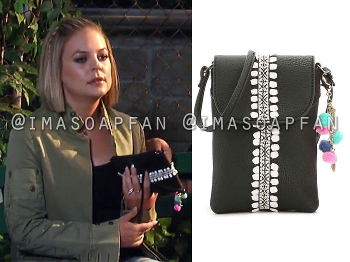 Maxie Jones's Black and White Embroidered Crossbody Purse - General Hospital, Season 55, Episode 08/17/17, Kirsten Storms, #GH #GeneralHospital Wardrobe #imasoapfan https://imasoapfan.blogspot.com/2017/08/maxie-jones-black-and-white-embroidered-crossbody-purse-general-hospital.html