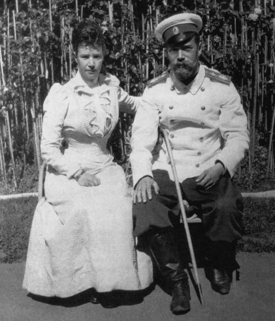 "Tsar Nicholas II of Russia with his mother Dowager Empress Maria Feodorovna of Russia in the 1890s. ""AL"""