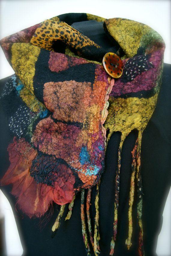 Nuno Felted scarflette  a SugarPlum Original by sugarplumoriginals, $150.00