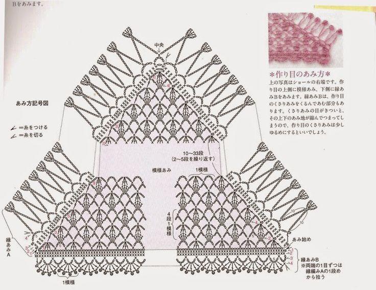 Magia do Crochet: Xaile em crochet com esquema do ponto
