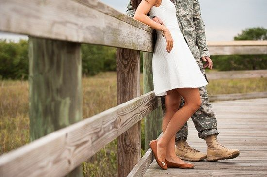 This Army couple has some great ideas for outdoor engagement photos! #ArmyWedding