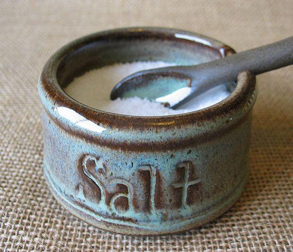 READY TO SHIP - Salt Cellar - Salt Pig - Spoon and Dish - MXS $29.76Handmade Pottery
