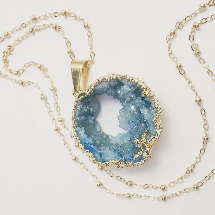 Long Aqua Druzy Necklace, Large Turquoise Natural Stone Pendant, Ocean Geode, Layering Jewelry, Beach Inspired by chipandchisel on Etsy https://www.etsy.com/listing/250158829/long-aqua-druzy-necklace-large-turquoise - jewelry, dainty, wire, necklaces, swarovski, men\'s jewellery *ad