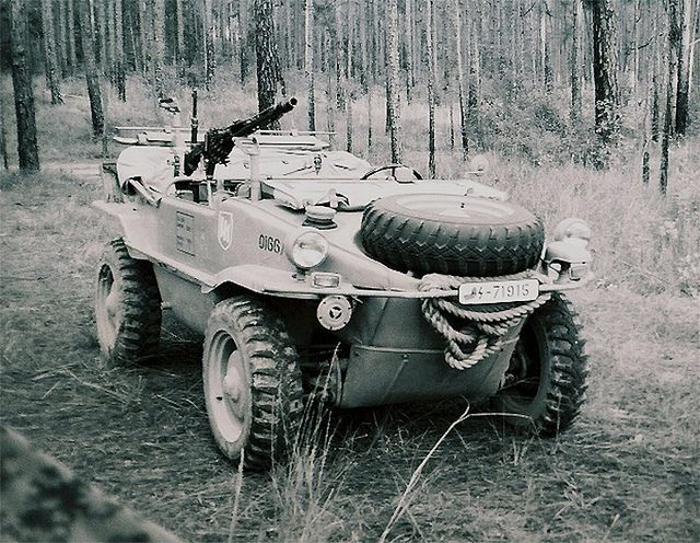 """Type 166 VW """"Schwimmwagen"""" was an amphibious vehicle used extensively by the German Wehrmacht and the Waffen-SS during the Second World War.... They were also four wwheel drive"""
