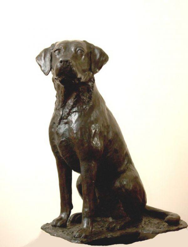 #Bronze #sculpture by #sculptor JOEL Walker titled: 'Great Loyalty (Bronze Labrador Dog sculptures statue)'. #JOELWalker