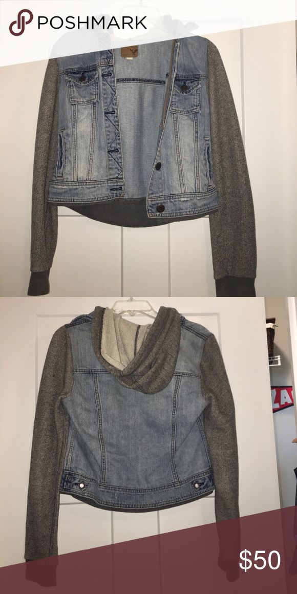 american eagle jean jacket jean jacket with sweatshirt sleeves and hoodie. only worn once, great condition. size small American Eagle Outfitters Jackets & Coats Jean Jackets