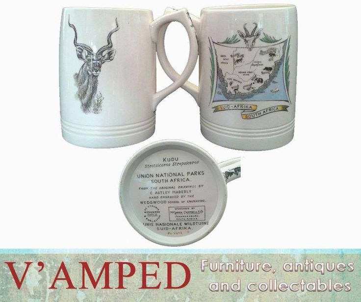 Add these pair of collectable wedgewood commemorative tankards to your collection for only R1250 each from #VampedFurniture. Contact Rory on 076 983 4008 for more information. Delivery available nationwide on arrangement. T's & C's apply.