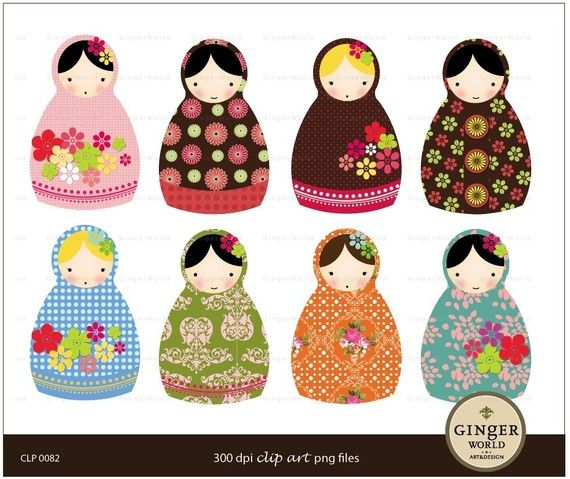 Russian Doll Matryoshka clip art digital file by GingerWorld