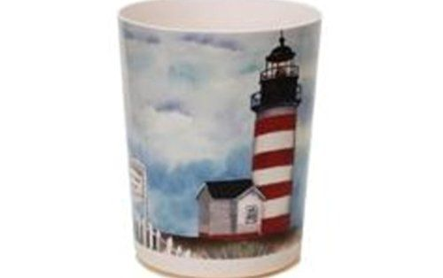 Lighthouses are enchanting, magical and nostalgic which is  why people like getting lighthouse memorabilia as gifts. Furthermore, there are so many types of gifts  for lighthouse lovers from lighthouse bedding, lighthouse throw blankets,  lighthouse kitchenware and other Lighthouse home décor accents.    Lighthouse Point Bay Waste Basket
