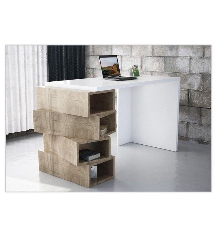 DeinDeal - Schreibtisch Jenga - Weiss und Braun