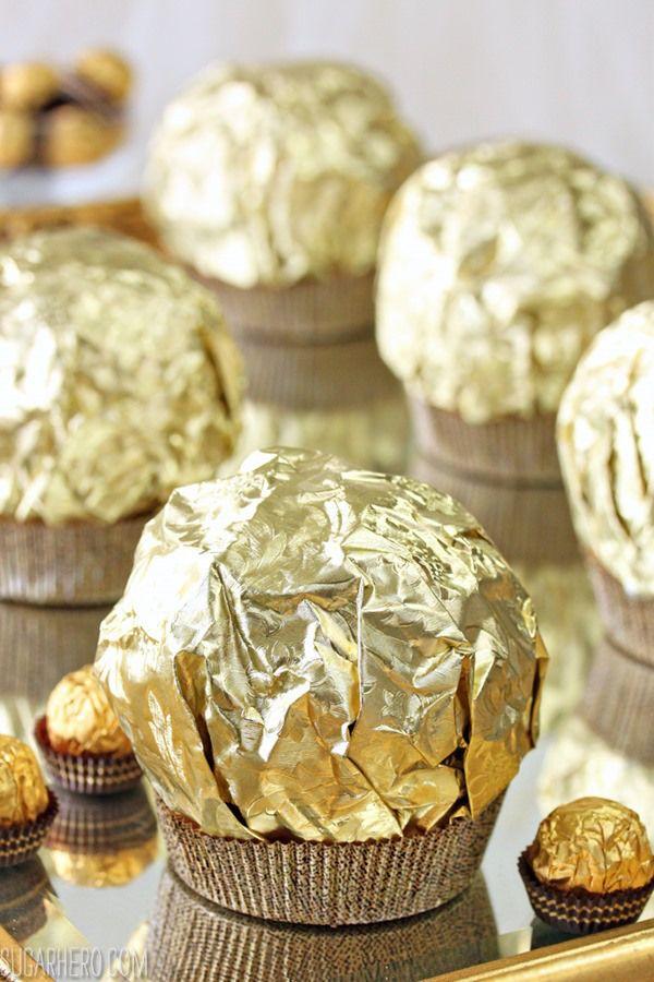 Giant Ferrero Rocher Hazelnut Mousse Cakes | From SugarHero.com