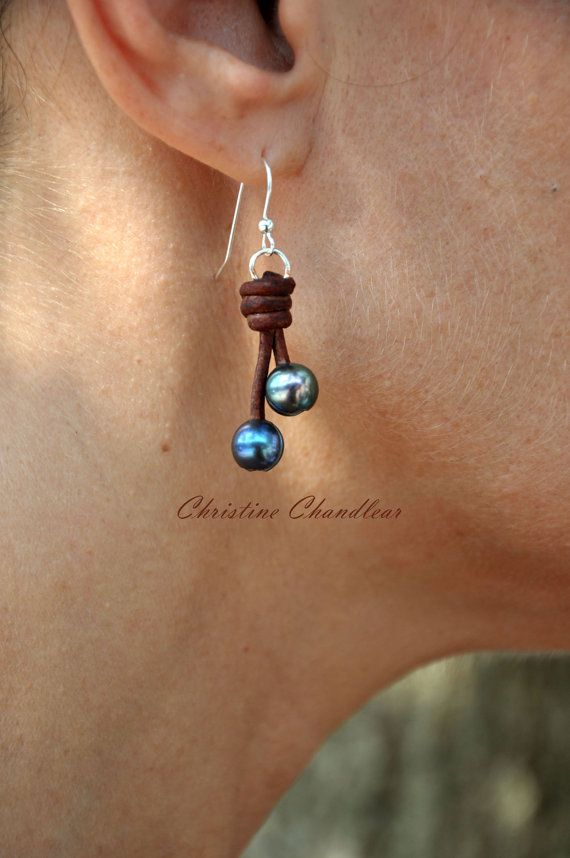 Pearl and Leather Earrings - 2 Pearl Drop Earrings - Brown Peacock Pearl - Pearl and Leather Jewelry Collection