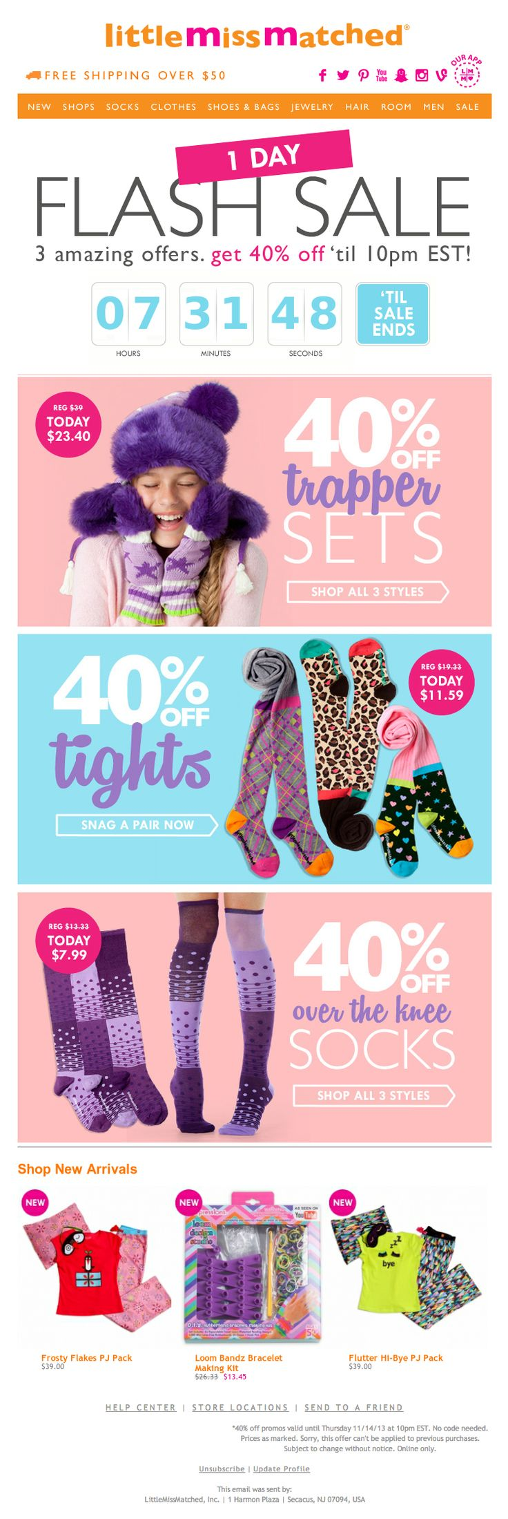 """Little Miss Matched used a live countdown timer to promote a 1-day flash sale. The """"Shop New Arrivals"""" section was a live web crop of the latest inventory available online. Social media icons deep-linked to the respective apps when the email was viewed on a mobile device."""