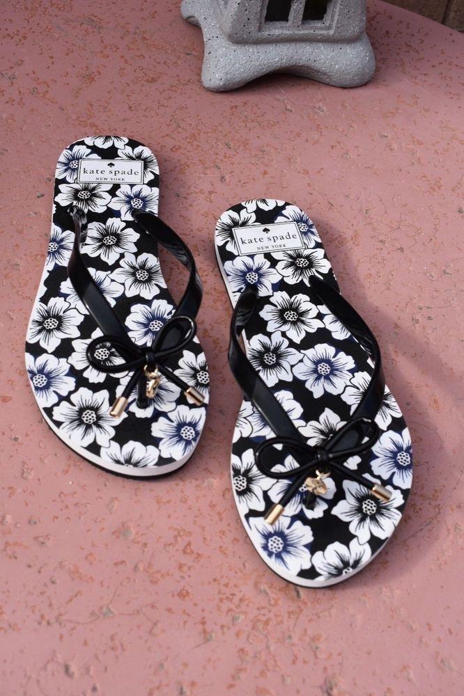 bf34121a4 KATE SPADE Rhett Wedge Thong Sandals New York Black White floral Sz 7-8 NEW