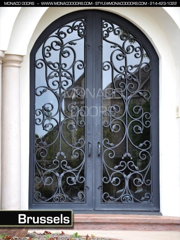 Monaco Doors Name: Brussels Finish: Satin Black Glass: Clear Size: 6' x 9' Style: Arch