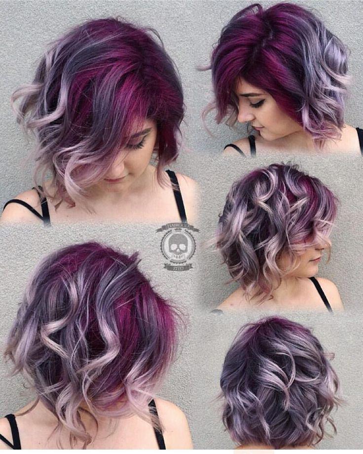 Gorgeous colorful hair    deep purple lavender silver gray hair color