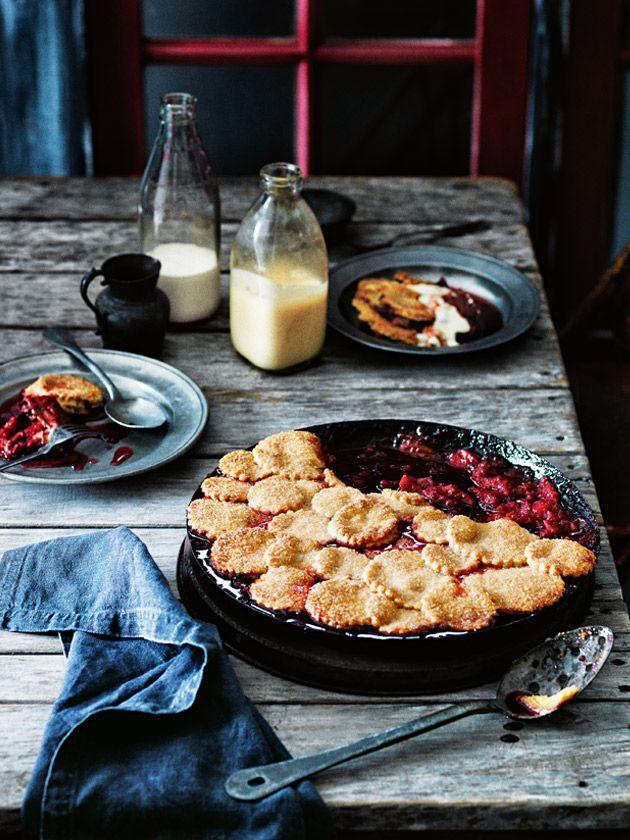 Rhubarb, Apple & Raspberry Pie via Donna Hay #rhubarb #pie #recipe