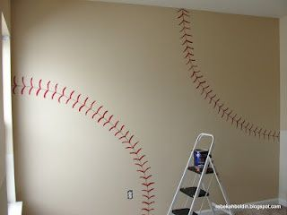 Paint walls a lighter navy, then a baseball accent wall.  Little boy's room!